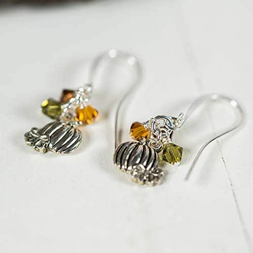 Tiny Pumpkins Crystal Harvest Dangly Earrings Jewelry Gift for Women