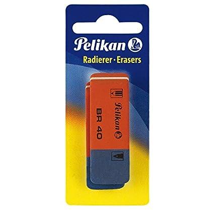 Pelikan BR 40 color rojo y azul Goma de borrar paquete de 2 unidades
