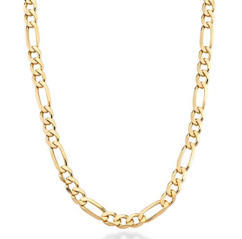 (MiaBella 18K Gold Over Sterling Silver Italian 7mm Solid Diamond-Cut Figaro Link Chain Necklace for Men, 20