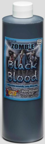 [Zombie Black Blood - One Pint Costume Makeup Accessory] (Zombie Halloween Costume Makeup)