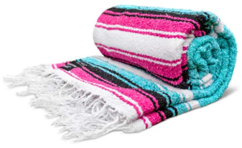 Yoga Blanket - Artisan Thick Premium Diamond Mexican Falsa Blanket Camping Blanket Authentic Handwoven Mexican Blankets and Throws Woven Blanket Yoga Bolster Serape Blanket Turquoise/Pink/Tan/White