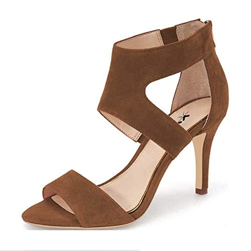 XYD Prom Dancing Shoes Elegant Open Toe Strappy Heeled Sandals Ankle Wrap Dress Pumps for Women Size 7 Brown-Suede