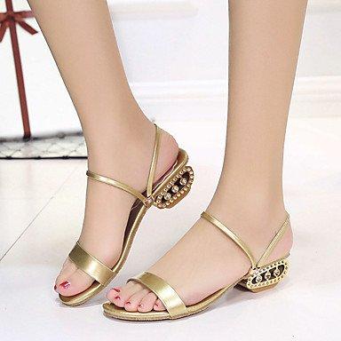 RUGAI-UE Moda de Verano Mujer sandalias casuales zapatos de tacones PU Confort,Negro,US8.5 / UE39 / UK6.5 / CN40 Gold