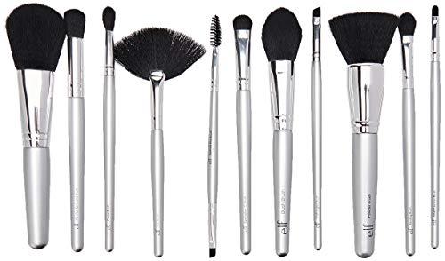 E L F Silver 11 Piece Brush Collection 1 Set (Elf Cosmetics Silver 11 Piece Brush Collection)