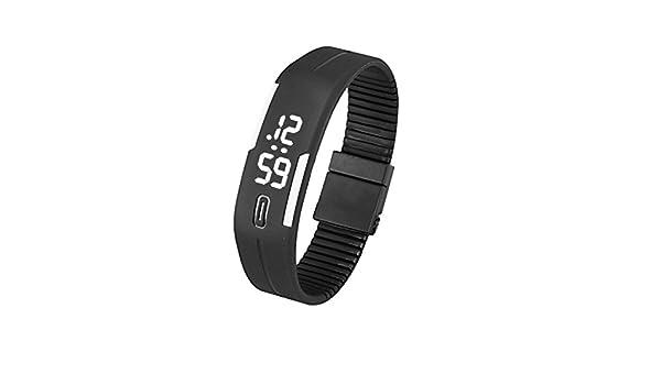 JiaMeng Caucho LED Reloj de Moda Deportivo Impermeable Reloj Digital para Niños Chicos Hombres Mujeres Reloj de Pulsera(Blanco Negro): Amazon.es: Ropa y ...