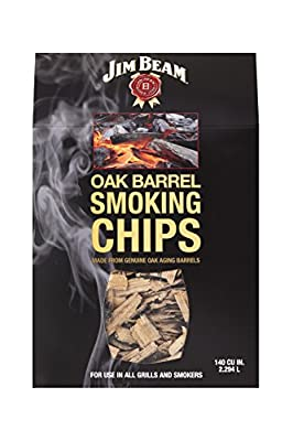 Jim Beam Oak Barrel Wood Chips for Smokers, Smoking Chips Will add Great Flavor to BBQ, 140 Cubic inch Box from Two Trees Producdts