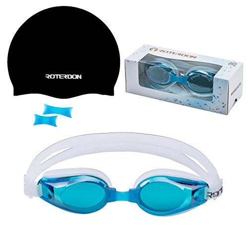 Swimming Goggles Adult Roterdon Anti Fog UV Protection With 3 Sizes Replaceable Nose Pieces-Goggles + Swimming Cap Adults Mens Womens Chidrens Youth Junior Kids In Racing From ROTERDON Swim - What Glasses Face Fit Frames My