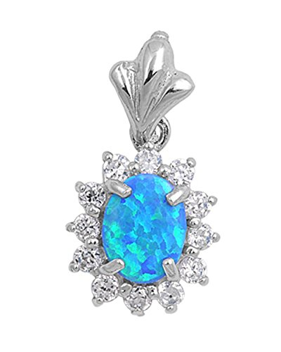 Halo Oval Pendant Blue Simulated Opal Clear CZ .925 Sterling Silver Charm - Silver Jewelry Accessories Key Chain Bracelet Necklace Pendants