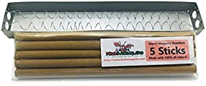 Kick Mosquito Repellent Sticks - Myrrh All Natural Outdoor Incense - DEET FREE - Repel Insects in the Backyard Garden Barbeques - Free Holder + 5 Giant STICKS Burn 2-3 Hours Each