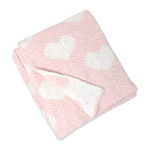 Living Textiles Chenille Baby Blanket. Pink Hearts Ultra-Soft Throw Blanket for Cribs and Strollers (40x30 inch) ()