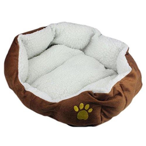 Price comparison product image vmree Pet House Bed, Pet Dog Puppy Cat Fleece Warm Bed House Plush Cozy Nest Mat Pad (Brown)