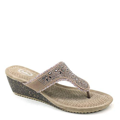 New Brieten Mujeres Rhinstones T- Correa Flip-flop Comfort Thick Sole Wedge Sandalias Slide Camel