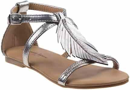 d1d3dd610a56 Nanette Lepore Girls Silver Glitter Leaf Applique Buckle Sandals 11-4 Kids