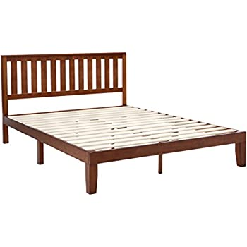 zinus 12 inch wood platform bed with headboard no box spring needed wood slat