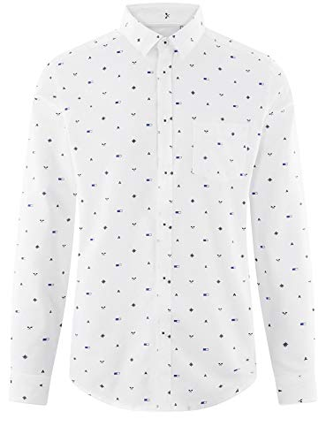 Chemise Coton Ultra Blanc 1079g En De Avec Homme Poche Oodji Poitrine Zw1Efw