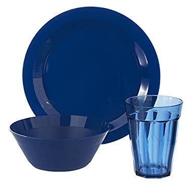 Cambridge Plate, Bowl and Tumbler Dinnerware 12 Piece Set Blue