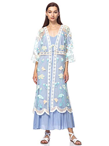 Anna-Kaci Women's Long Embroidered Floral Butterfly Kimono Cover Up Cardigan,Blue,One Size