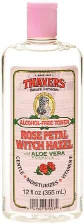 Thayers Alcohol-Free Witch Hazel with Organic Aloe Vera Formula Toner, Rose Petal 12 fl oz Pack of (1)