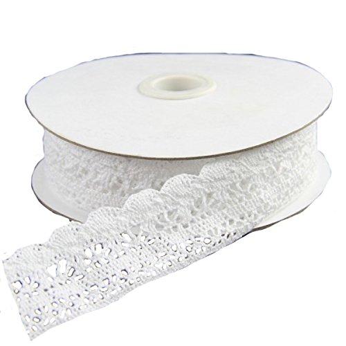 """1""""x10yd White Crochet Lace Ribbon"""