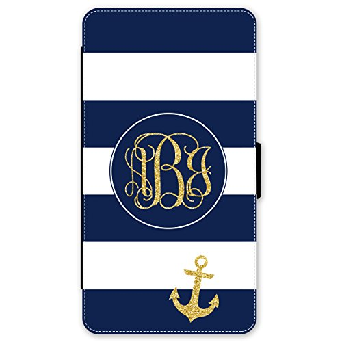 iPhone 8 PLUS Wallet Case Navy Blue Stripes Nautical Anchor Monogram Monogrammed Personalized iPhone 8 PLUS Wallet Case (5.5 inch) by Simply - Brands Nautical