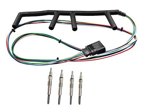 Michigan Motorsports TDI 4 Wire Diesel Glow Plug Wiring Harness and Glow Plugs Fits VW Golf Jetta MK4 02-03 ()