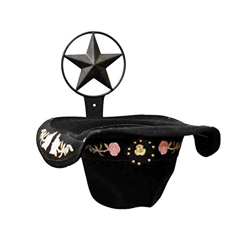 IRON COWBOY HAT HOLDER WITH STAR SYMBOL-9 INCHES HIGH X 10 INCHES DEEP.