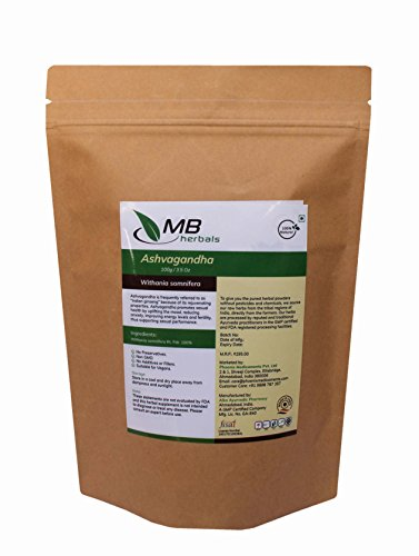 MB Herbals Pure Ashvagandha Powder 100g 3.5oz | Withania somnifera Rt.| Winter Cherry | Ashwagandha | Indian Ginseng | Promotes Strength | Muscle Building | Men's Vitality | Stress Relief