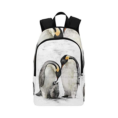 (VvxXvx Cute Hand Drawn Oil Painting Penguin Casual Daypack Travel Bag College School Backpack for Mens and Women )