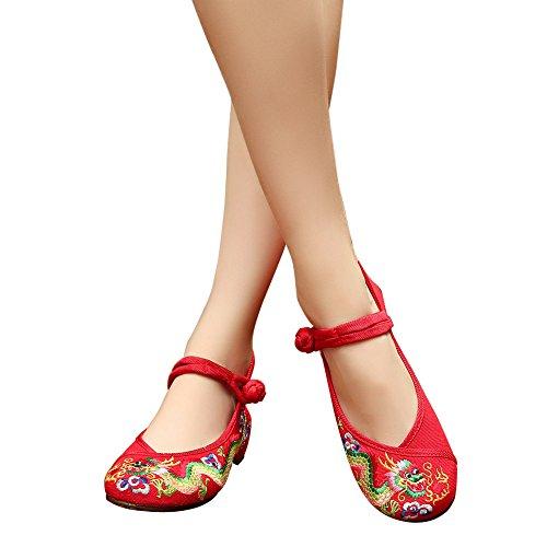 Scarpe Da Donna Cinesi Tradizionali Dragone Ricamato Cheongsam Rosso