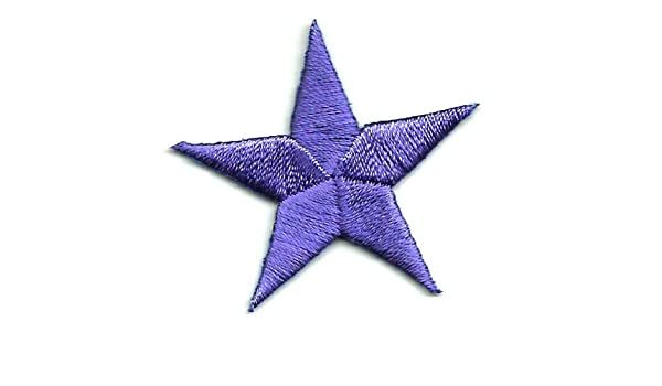 "ONE DOZEN - 12 1 1//4/"" PURPLE EMBROIDERED STARS IRON ON PATCHES"
