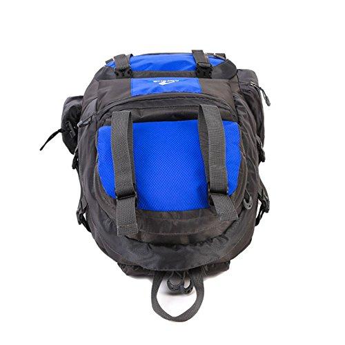 TENGGO 50L Wasserdicht Nylon Outdoor Travel Bergsteiger Rucksack Camping Wander Tasche-Blau Rot