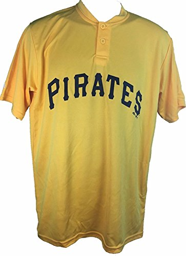 Pittsburgh Pirates Cooperstown Collection Two Button Dri Fit Jersey T-Shirt (Large)