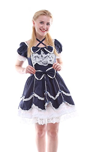 [Nuoqi Girls Lolita Gothic Dress Princess Layers Evening Party Blue Dress] (Child Square Dance Costume)