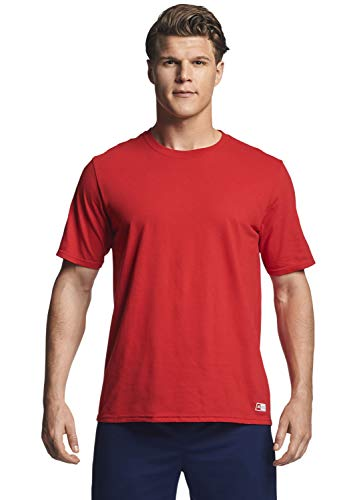 Red T-shirt - Russell Athletic Men's Essential Short Sleeve Tee, True Red, 4XL
