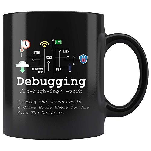 Debugging Definition Mug Funny IT Programming Coding Code Programmer Black Coffee Cup Binary Computer Teacher Student Present