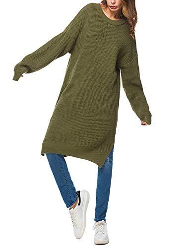 Verde Zhuhaijq Oversize Lunga Top Allentato Felpa Pullover Maglia Sweatshirt Lavorato a Manica Moda Colletto Tondo Maglione Donna 4rqwFEa4