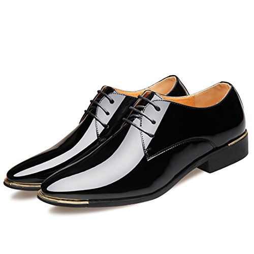 Solid Colours Red Black Brown Lace Up Glossy Patent Leather Flats Italy Dress Wedding Oxford Shoes Men (Women 12.5-13 / Men 10.5-11 → EUR 45, -