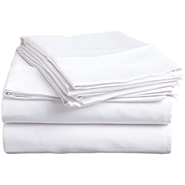 Organic Cotton Sheet Set - 600 Thread Count - 100% Cotton 4pc Bed Sheet Set - (Queen, White)