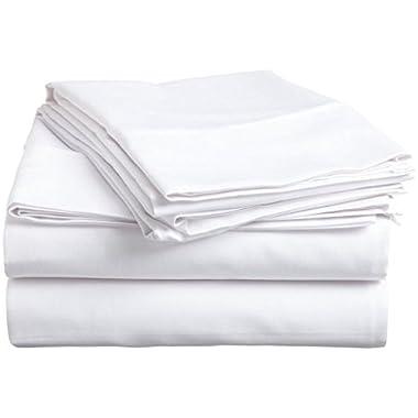 Organic Cotton Sheet Set - 600 Thread Count - 100% Cotton 4pc Bed Sheet Set - (Queen, White)