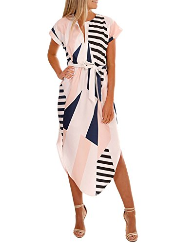 Yinhua Women's Dress Short Sleeve V Neck Geometric Print Casual Dress Summer Dress Belted Dress Black and White
