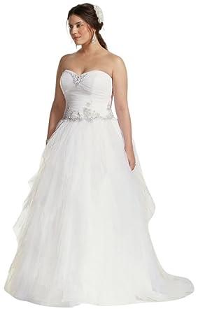 David\'s Bridal Jewel Tiered Tulle Beaded Plus Size Wedding Dress ...