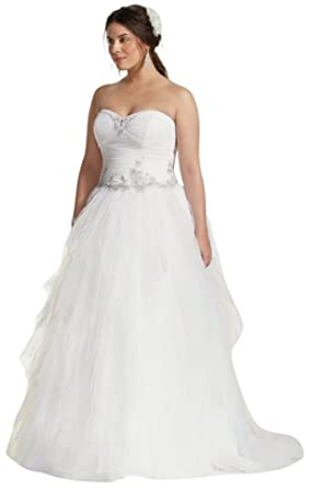 Jewel Tiered Tulle Beaded Plus Size Wedding Dress Style ...