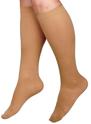Curad MDS1700DTH Knee-High Compression Hosiery, 15-20 mmHg, D-Regular, Large, Pair, Beige by Curad