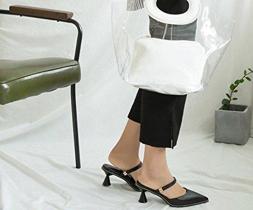 Tamaño Las del Negro de Mujeres Cerrado Cerrado Negro Verano al del la pie de de del Sandalias Zapatos Dedo Tacón 34 Las Libre Aire Zapatos de Novedad 39 qAwSx5T5