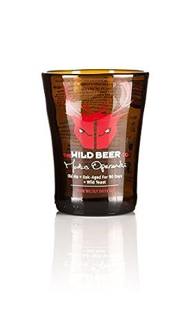 Reciclado rojo Wild - corto vaso de cerveza único, vidrio transformado en Devon por reforma