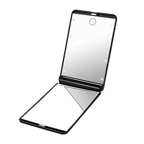 Plemo Kosmetikspiegel mit LED Beleuchtung, Doppelseitiger Make up Spiegel mit 1- und 2-facher Vergrößung, 13*8.5 cm, Schwarz
