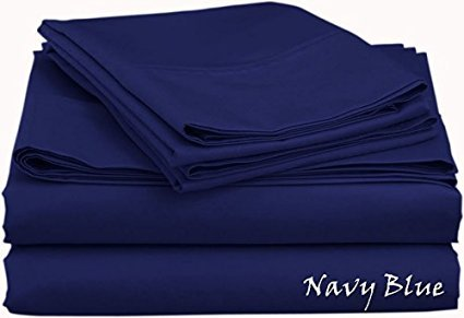 Made in India 600- Thread-Count 100% Percent Egyptian Cotton { Solid } Patterned Colors 4-Pieces Sheet Set - Twin Size - Navy Blue Color - Fit Extra Deep Pocket { 15'' Inches } By James Linen