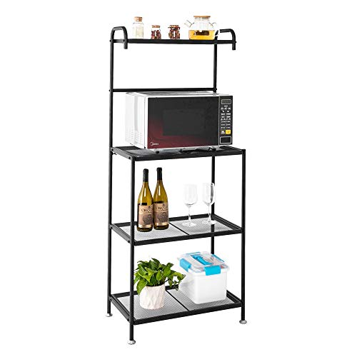 Yizhen-G 4-Tier Kitchen Microwave Storage Rack Oven Stand Strong Mesh Wire Metal Shelves Free Standing Baker's Rack Shelving Utility Unit, 23.5
