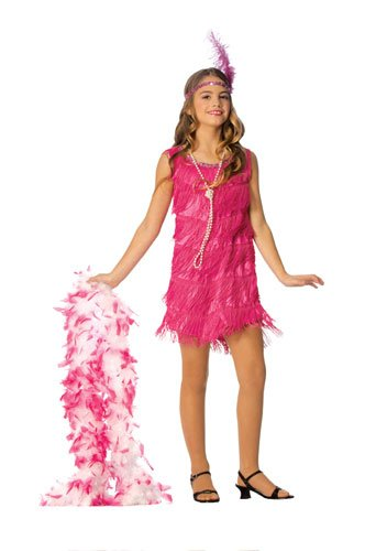 Official Costumes Flapper Kids Costume, Hot Pink, Large -