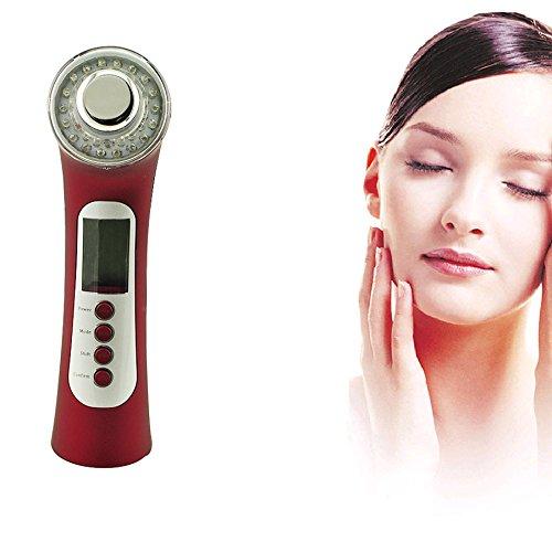 Denshine Photon 3 Couleur 3Mhz 5 en 1 Ultrasonic Galvanic Ion Skin Care Massager Appareil de Beauté Rouge